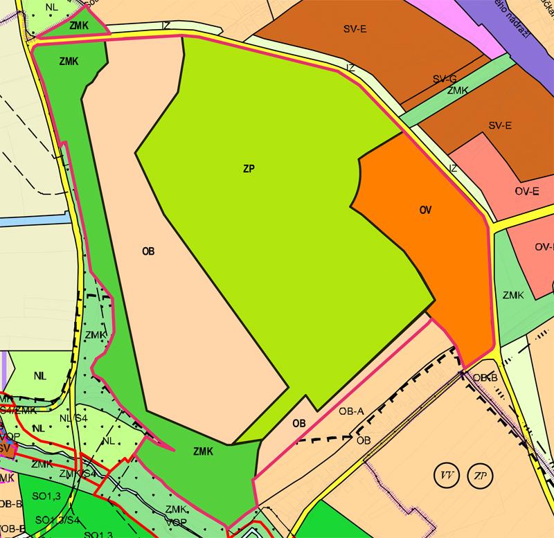 # čistě obytné /OB/ - 17,85 ha - ZDE SE NOVĚ BUDE MOCI STAVĚT # všeobecně obytné /OV/ - 8,54 ha – ZDE SE NOVĚ BUDE MOCI STAVĚT # zeleň městská a krajinná /ZMK/ - 10,07 ha + 0,53 ha # parky, historické zahrady a hřbitovy /ZP/ - 33,13 ha